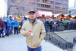 Jayant enjoying Glühwein in little boot-shaped holiday mug
